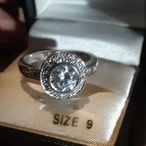 Kim Roger's silver-tone cubic zirconia round ring